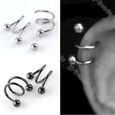 Pick Punk 16G Twist Spiral Ear Cartilage Stud Ring Helix Earrings Body Piercing