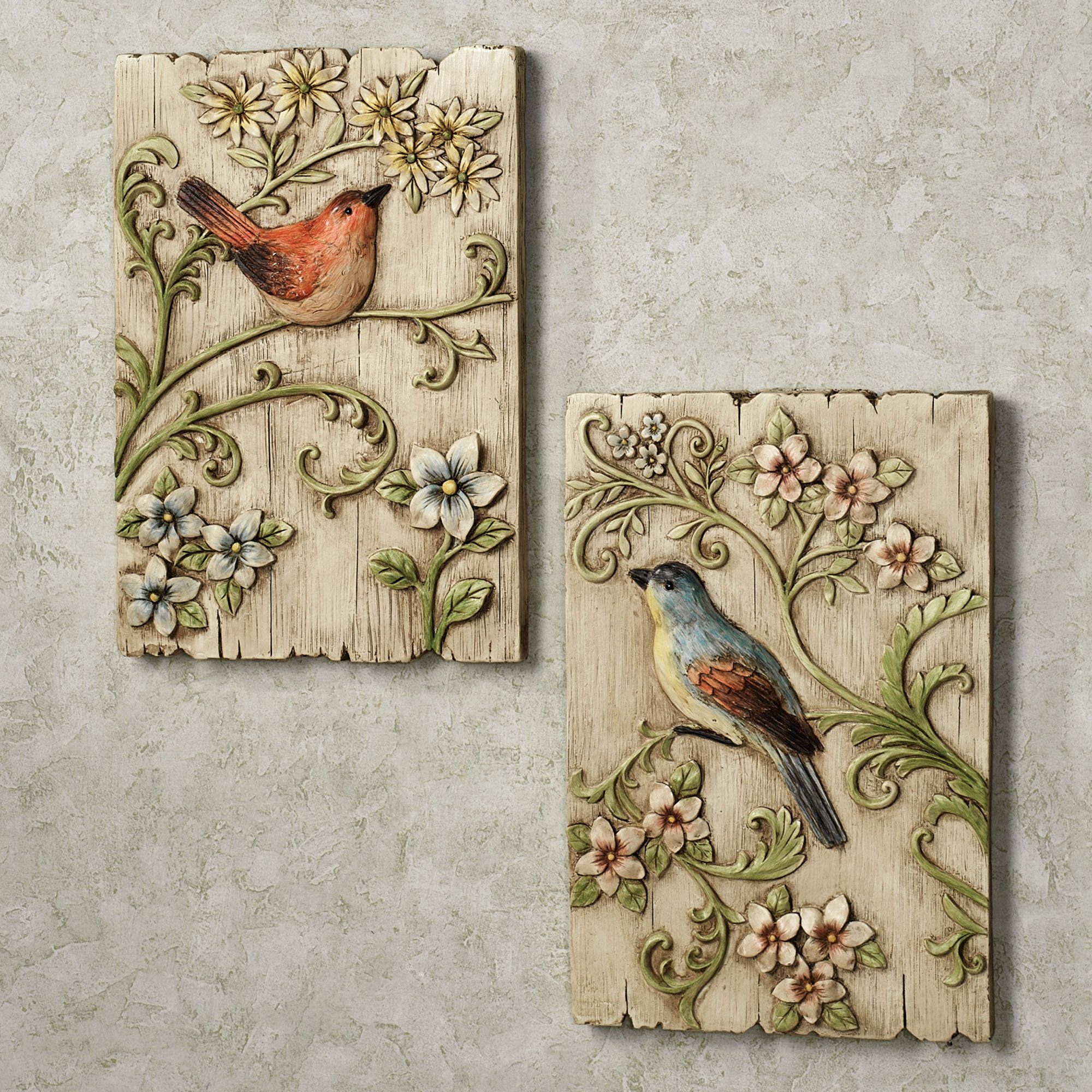 I like these ... distressed wood plaque, maybe silk or clay leaves and flowers, birds in clay, varnished paper, or soft sculpture fabric? (inspiration only)  ********************************************  TouchofClass #bird #plaque