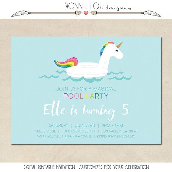 Unicorn Invitation Unicorn Pool Party Birthday By Vonnloudesigns