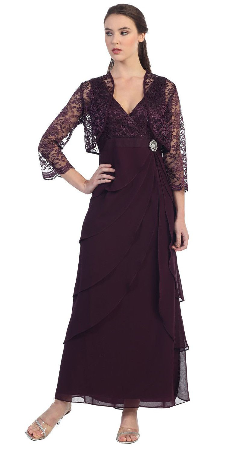 Plum vneck long dress empire lace chiffon include lace jacket