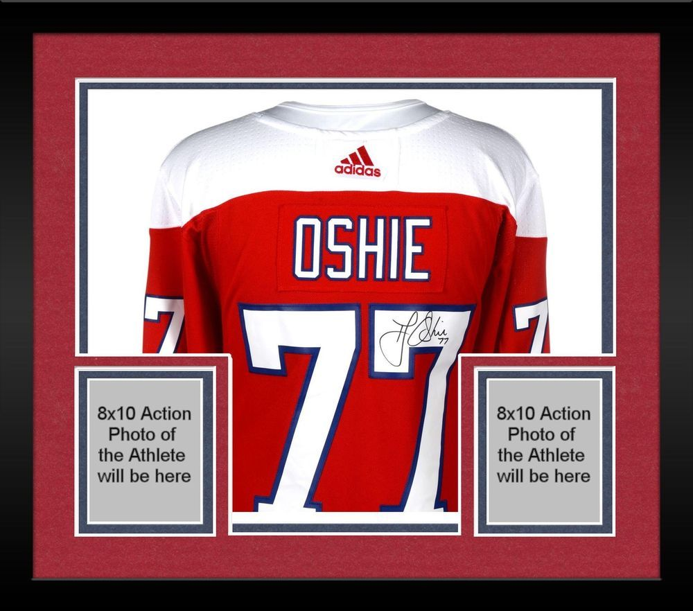 93193f87d Framed TJ Oshie Washington Capitals Signed Red Alternate Adidas Authentic  Jersey