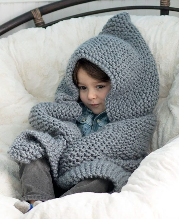 Free Knitting Pattern for Easy Hooded Baby Blanket - This blanket is ...