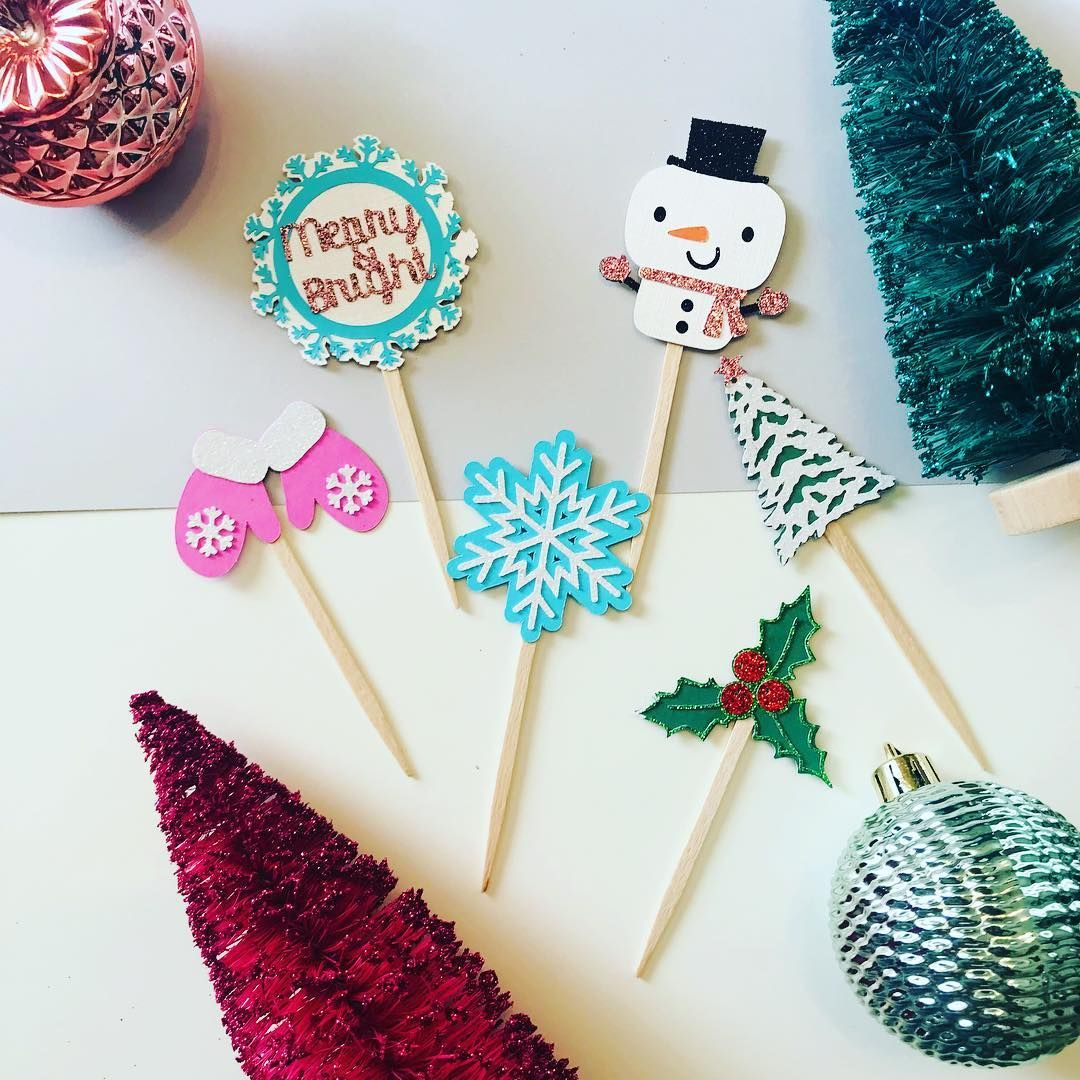 """Jackie H on Instagram: """"Toppers for your holiday dessert table 🎄  I think my favorite one is the snowman if I had to only pick one.  #christmasparty #handmadeparty…"""""""