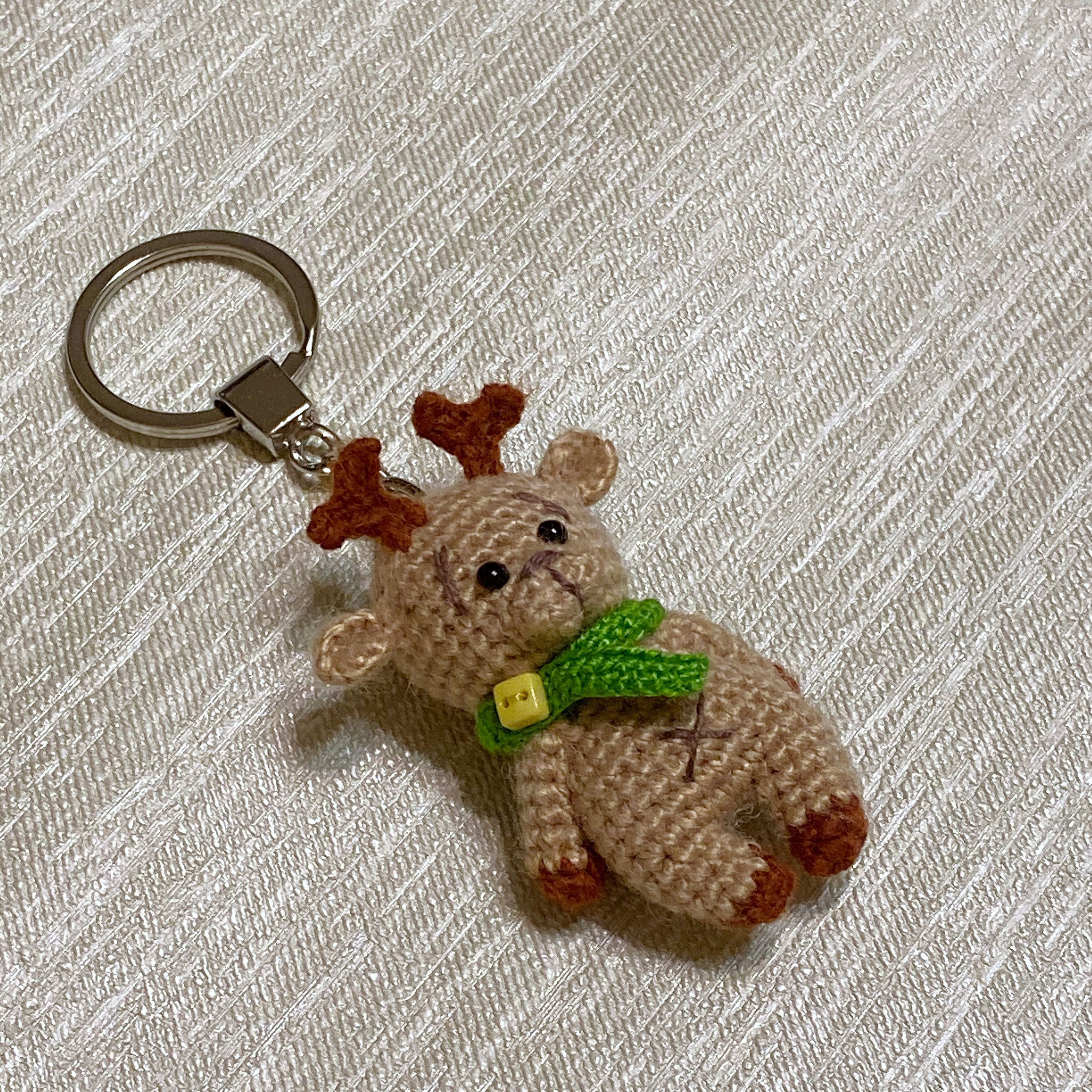 Tiny beige deer / cute Bag charm/ backpack pendant /keychain / gift for her/ Christmas present / new year surprise #decorateshop