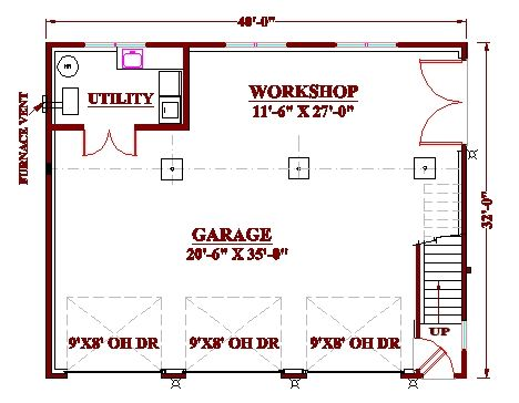 3 Bay Garage Workshop Plan Floor Plans Pinterest