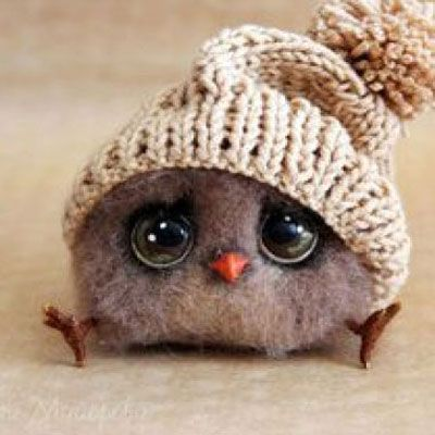 Adorable felt bird with hat - needle felting tutorial | Mindy