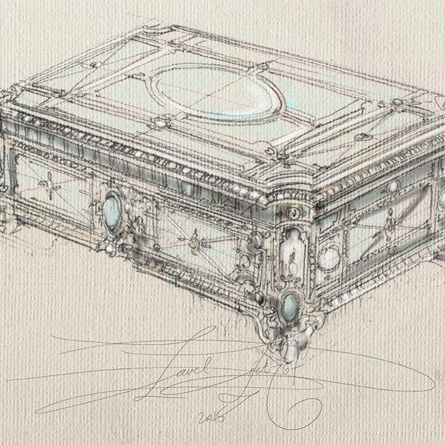 fast sketch jewelry box handdrawn illustration art