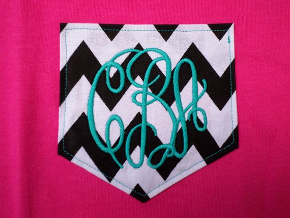 Monogrammed Chevron Pocket T Shirt  Pocket by KaliesKids on Etsy, $18.00