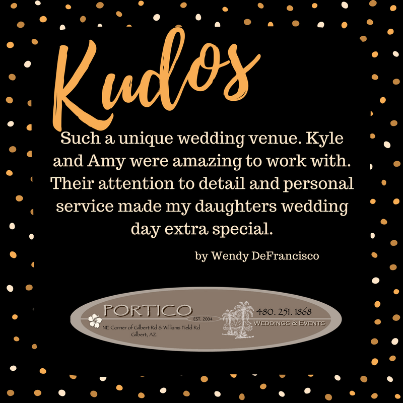 Thank you, Wendy, for the #Kudos#PorticoWeddings | Unique ...