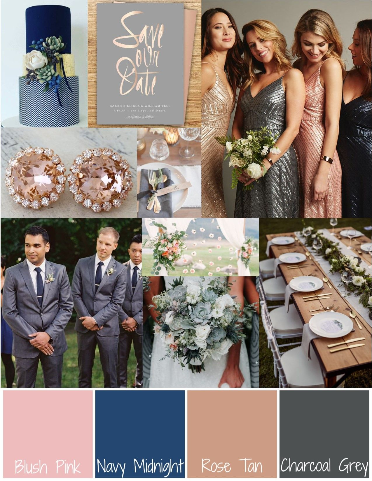 Blush Pink Navy Blue Rose Gold Charcoal Grey Midnight Summer S Dream A Summer S Eve Col Grey Wedding Theme Summer Wedding Colors Wedding Rose Gold Theme