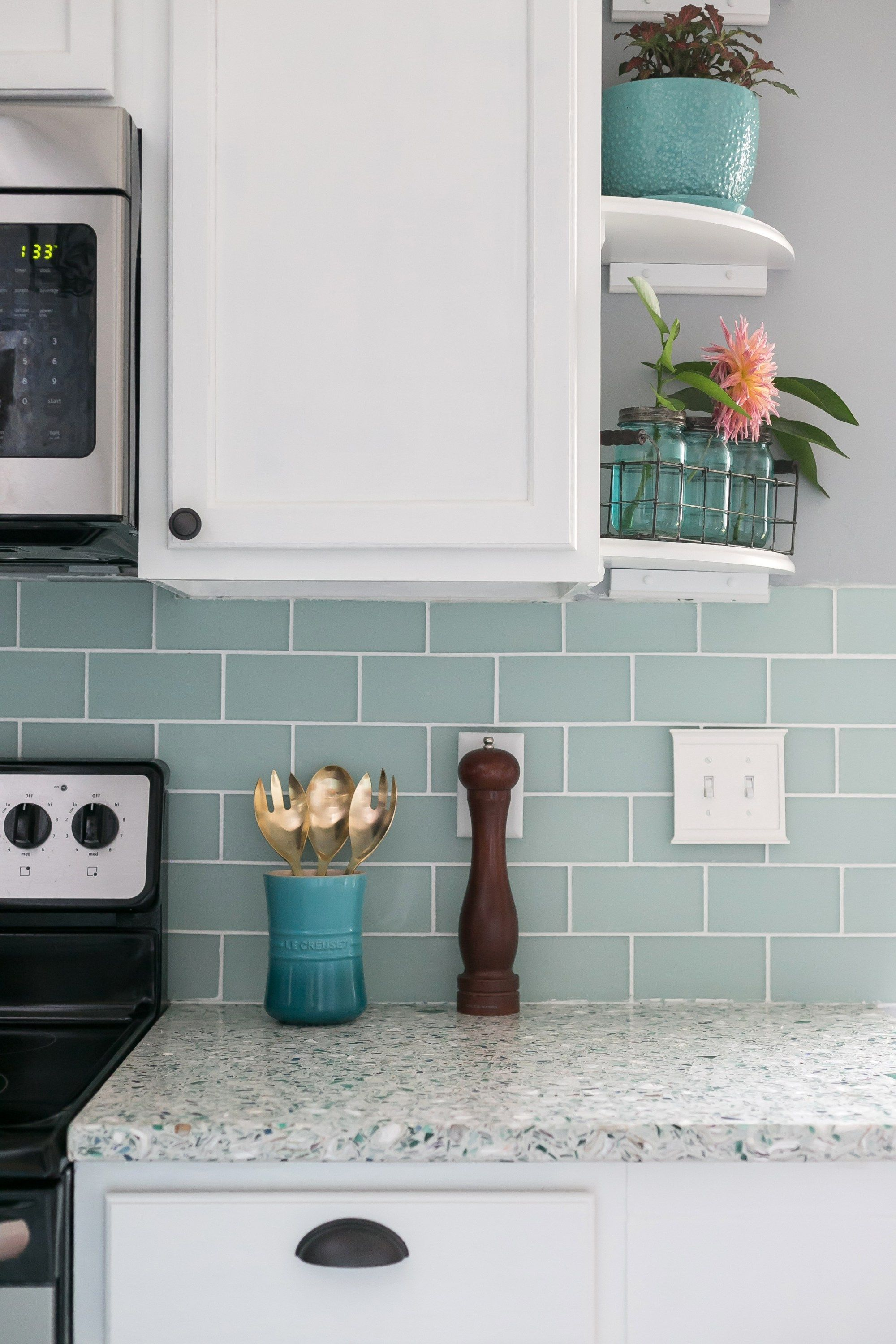 DIY Renovated coastal kitchen with light and bright shades of blue ...