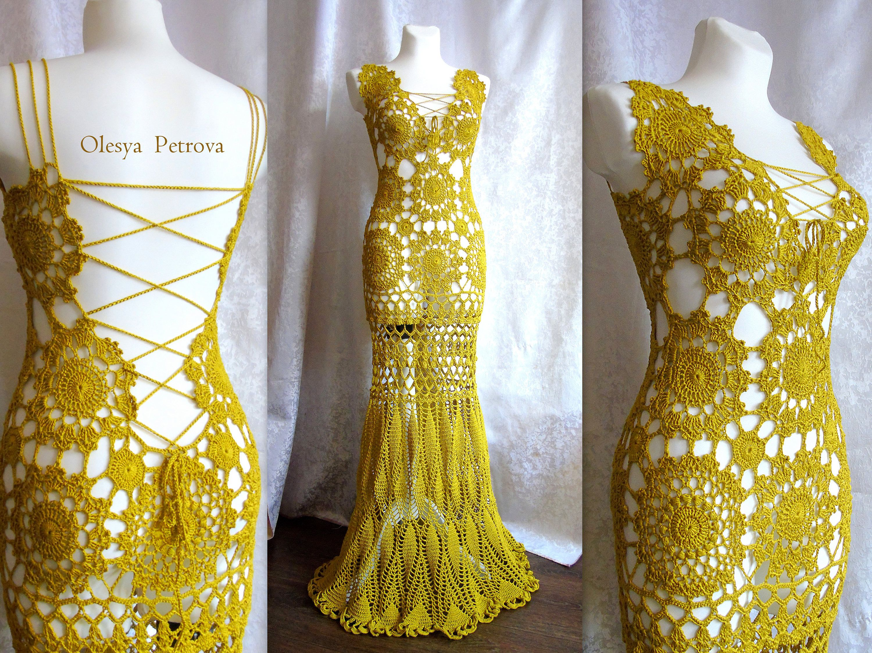 Mustard graduation prom dress open back wedding gown unique elegant