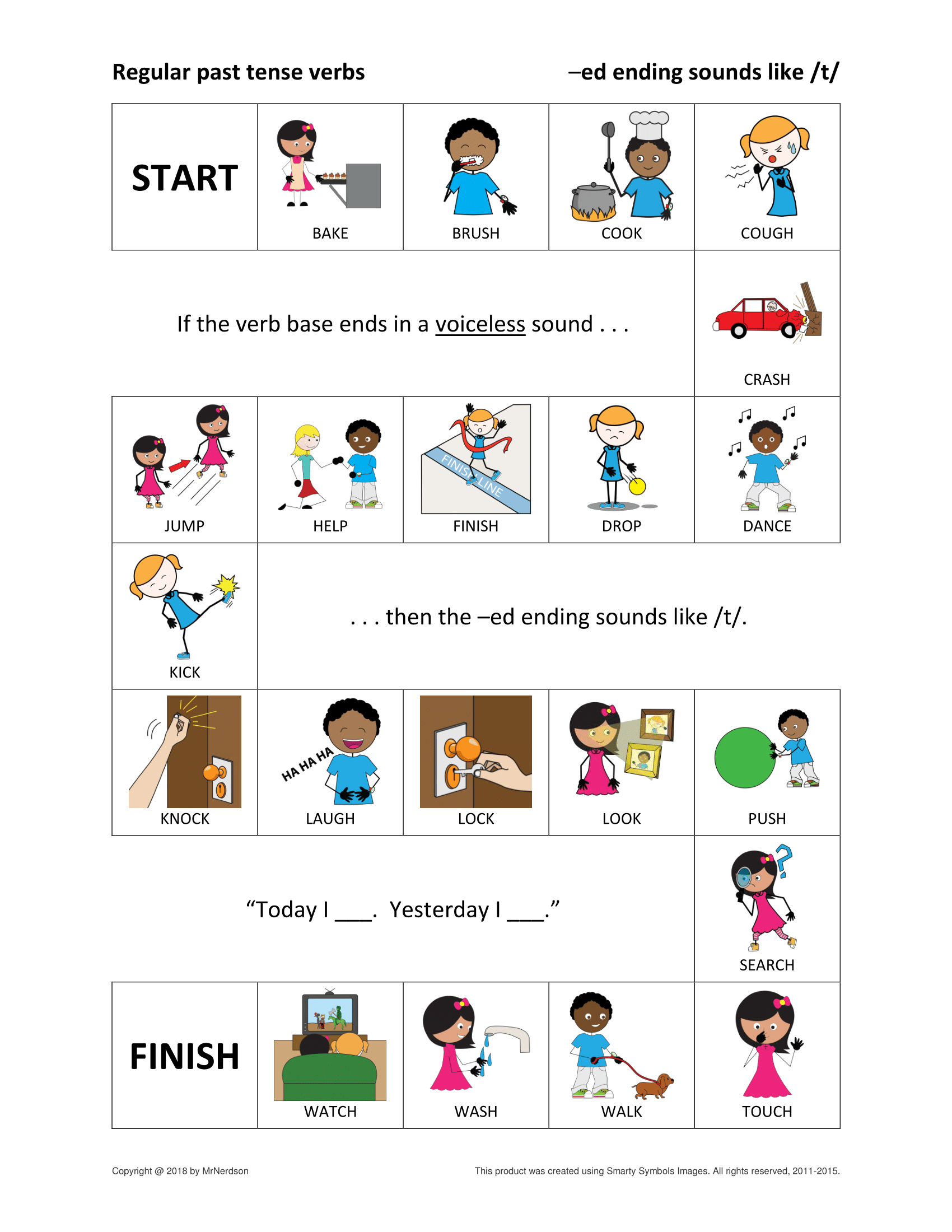 Regular Past Tense Verbs Games For Ending Sounds T D ɪd Regular Past Tense Verbs English Conversation For Kids Verbs Activities [ 2200 x 1700 Pixel ]