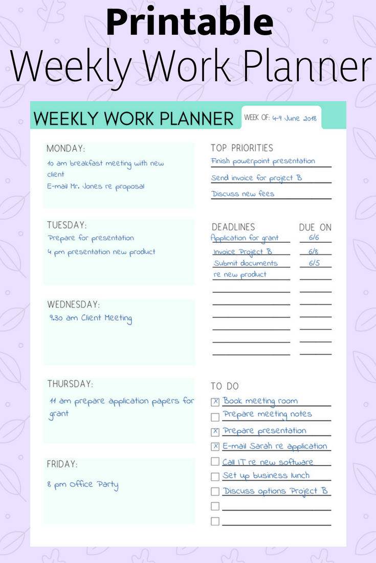Weekly Work Planner Weekly Planner Work Organizer Work Calendar
