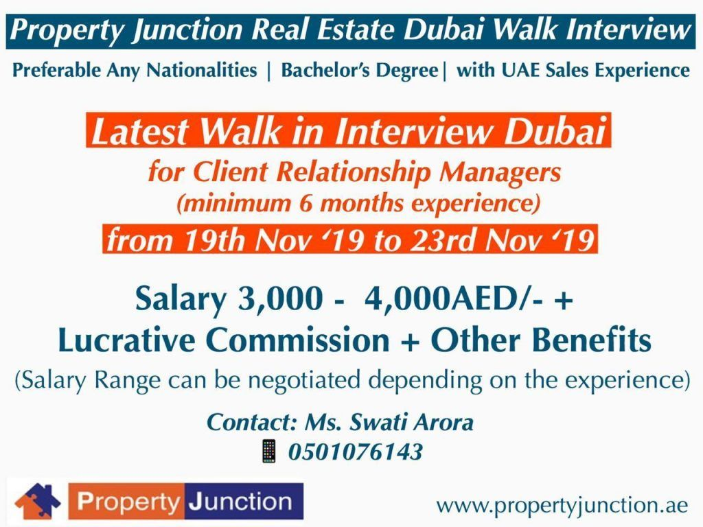 Walk In Interview For Property Consultant Client Relationship