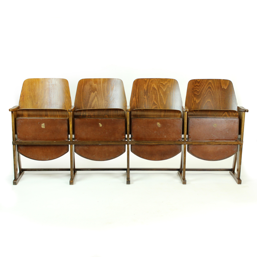 Tremendous Four Seat Cinema Bench By Ton Czechoslovakia Circa 1960 Caraccident5 Cool Chair Designs And Ideas Caraccident5Info