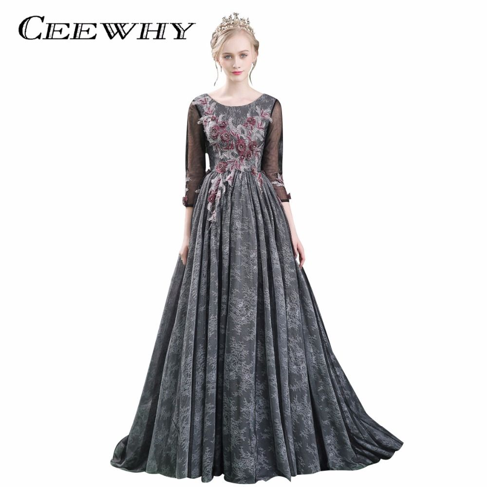 CEEWHY Three Quarter Sleeve Robe De Soiree Luxury Black Lace Evening  Dresses Long Prom Gowns Vestido 291a977970d1
