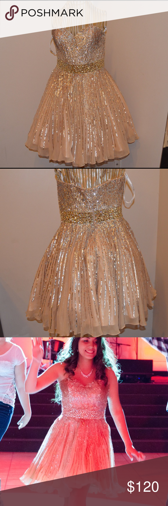 Gold Sherri Hill Dress Beautiful Short gold and silver dress, only worn once , slight snags but nothing noticeable at all , couldn't even find them to include picture , size 6. Also the small clasp at the top is gone but can be easily fixed. Non smoking household Sherri Hill Dresses Strapless