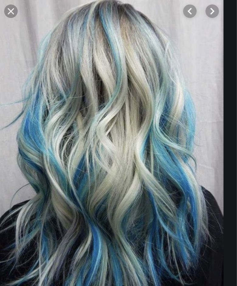 Pin By Cheryl Bell On Kinsley In 2020 Blonde And Blue Hair Hair Highlights Blue Hair Highlights
