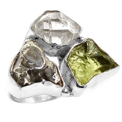 Moldavite-Meteorite-Campo-Del-Cielo-925-Silver-Ring-Jewelry-s-6-SR127579