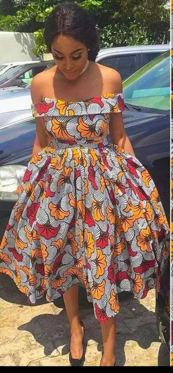 African women clothing /Ankara offshoulder dress/ african women fashion dress/RT500