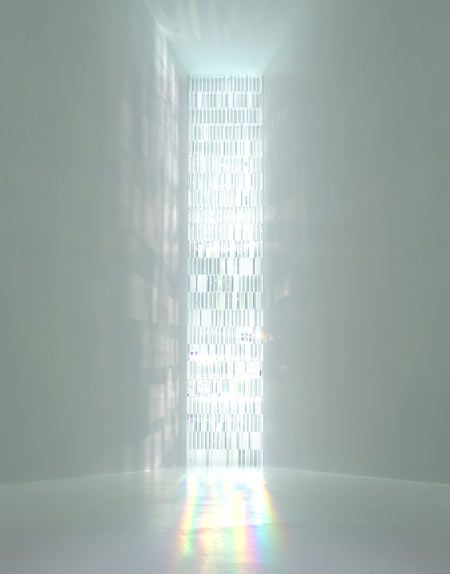 Rainbow Church by Tokujin Yoshioka    The installation consists of a 9-metre window made of 500 crystal prisms, which create rainbows within the space as the light is refracted.