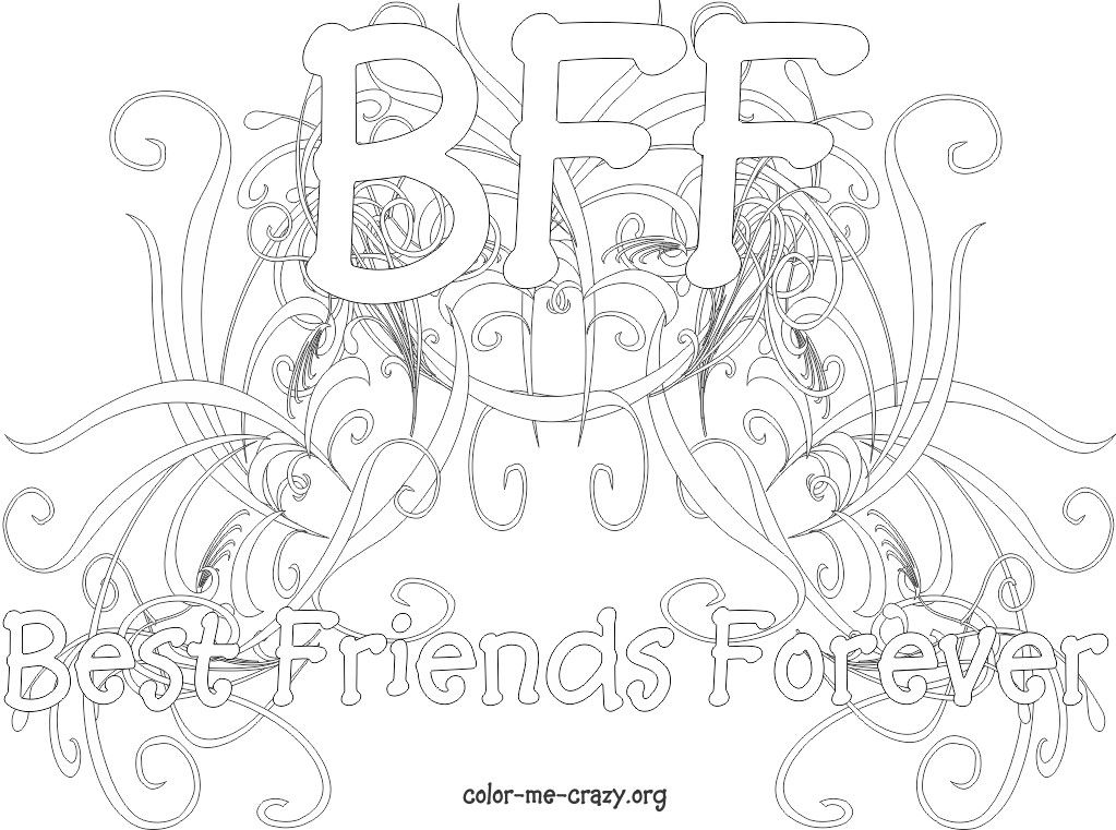 BFF Coloring Pages for Girls httpwwwcolor me crazyorg