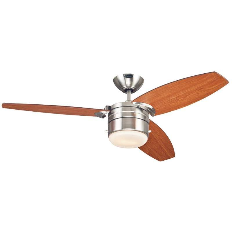 Westinghouse 7247400 lavada 48 3 blade hanging indoor ceiling fan westinghouse 7247400 brushed nickel lavada 48 3 blade hanging indoor ceiling fan with reversible motor blades light kit and down rod included aloadofball Images