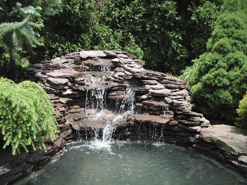 three level flat wall stone waterfall