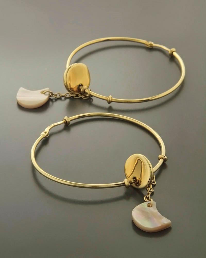 Σκουλαρίκια κρίκοι χρυσά Κ14 με Φίλντισι  4ccd4412b8b