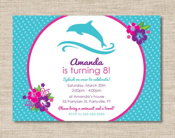 Personalized dolphin birthday party invitations diy printable