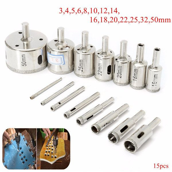 15pcs 3 50mm Diamond Hole Saw Drill Bit Set For Tile Ceramic Glass Porcelain Marble Tool Accessories From Tools Industrial Scientific On Banggood Com