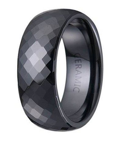 mens black ceramic wedding ring with domed profile and faceted glossy finish 75mm - Ceramic Wedding Rings