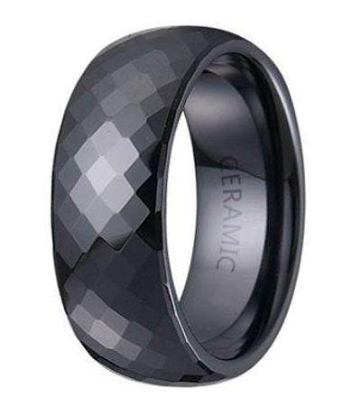 Mens Black Ceramic Ring Glossy Finish Ceramic Wedding Ring Black Ceramic Ring Mens Wedding Bands Black