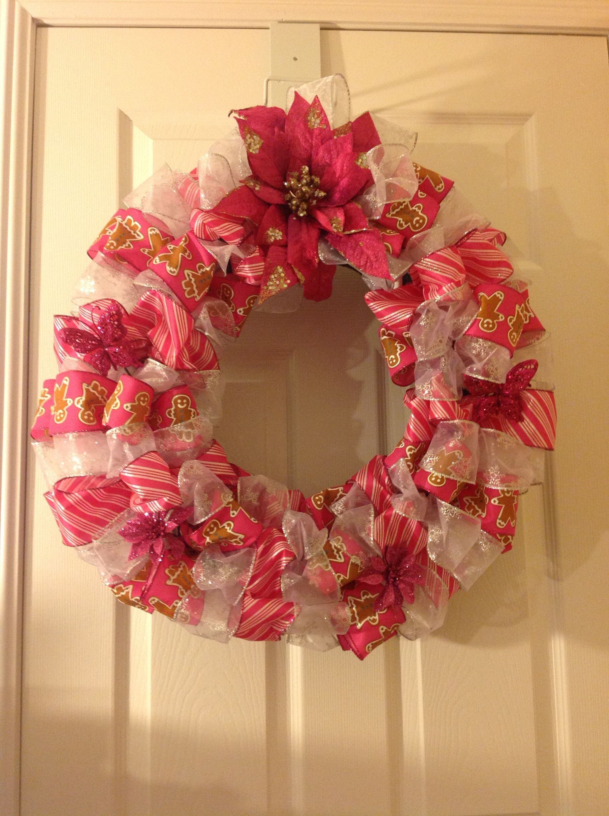 """18"""" Holiday Wreath w Green & Gold Ribbon and Accents"""