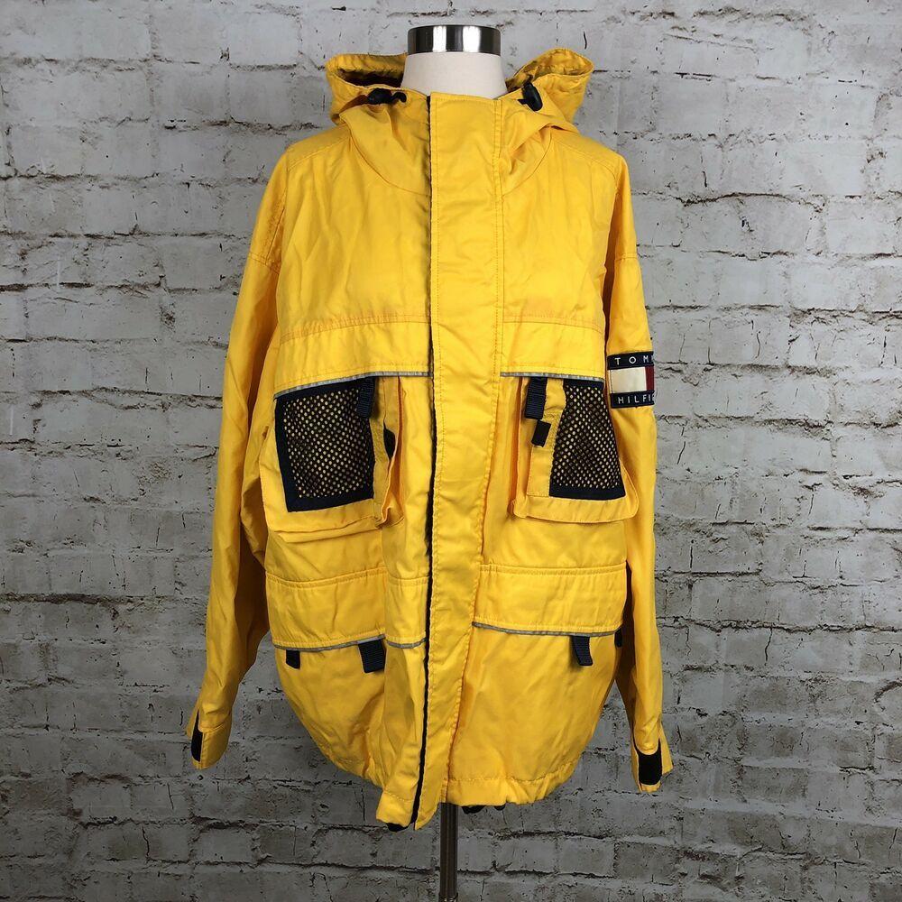 Vintage Tommy Hilfiger Mens Rain Jacket Yellow Hood Flag