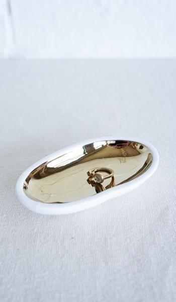 Ceramic Pebble Dish with Gold Glazed Interior
