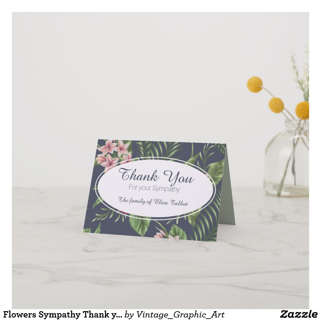 Flowers Sympathy Thank You Note Card