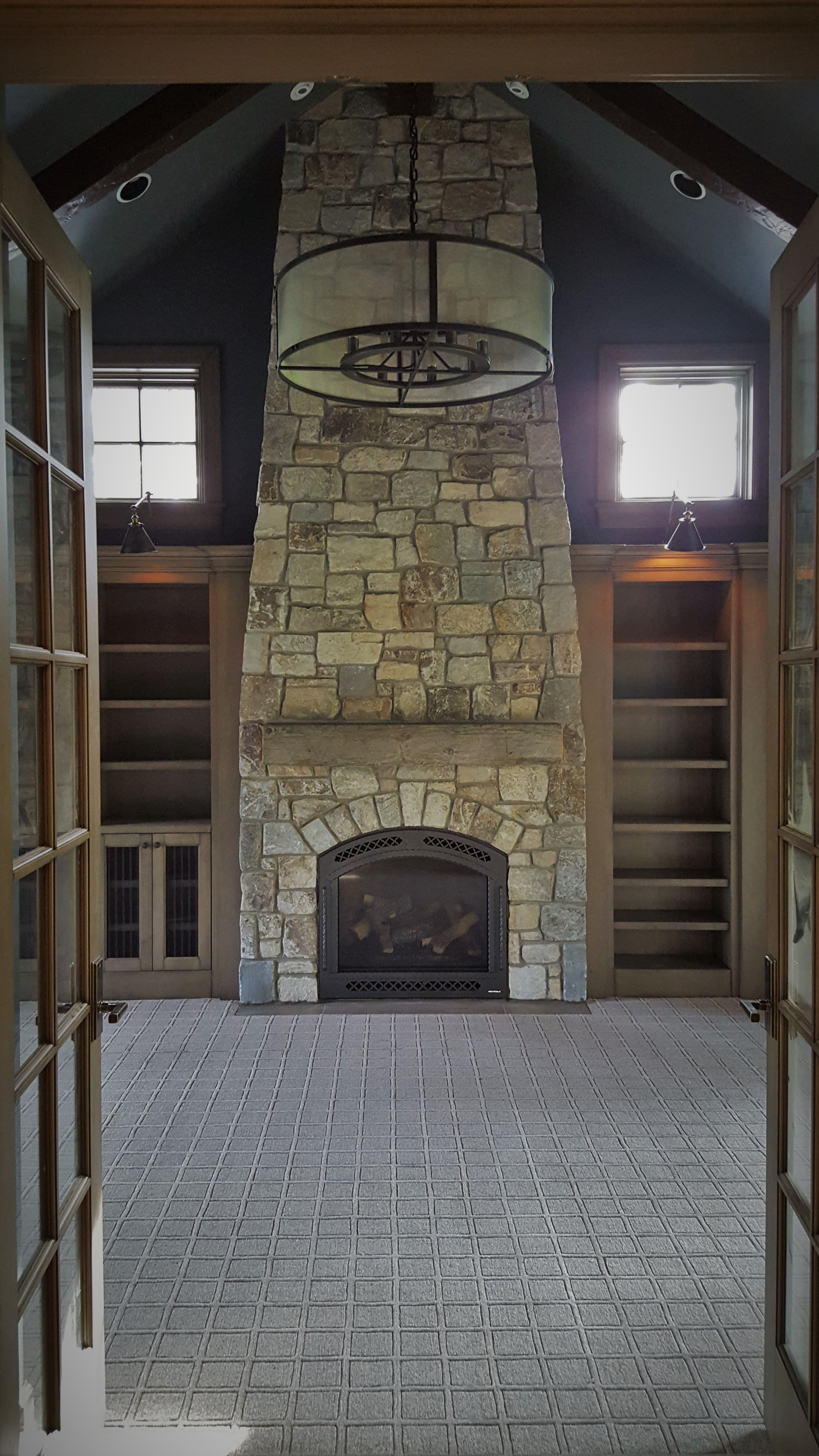 Open Study Room: Natural Stone Fireplace, Office, Den, Study Room, New
