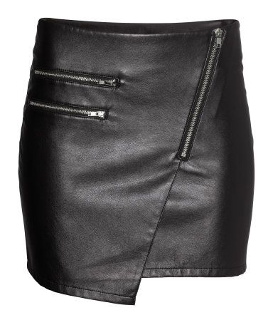 06c15a0500 Black Faux Leather H&M Biker Skirt $15 | Skirts | Skirts, Faux ...