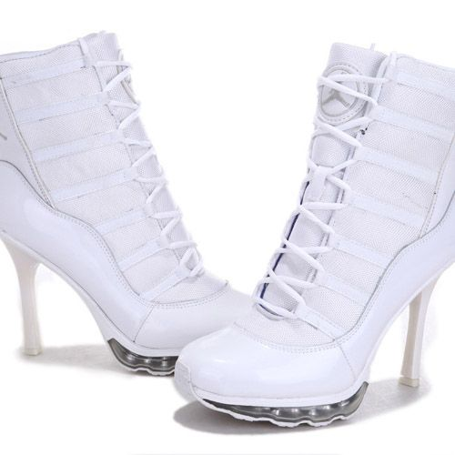 Buy Authentic Nike Air Jordan 11 High Heels Boots All White Womens Shoes-Cheap  Real Michael Jordan 11 Heels With Air Max For Sale
