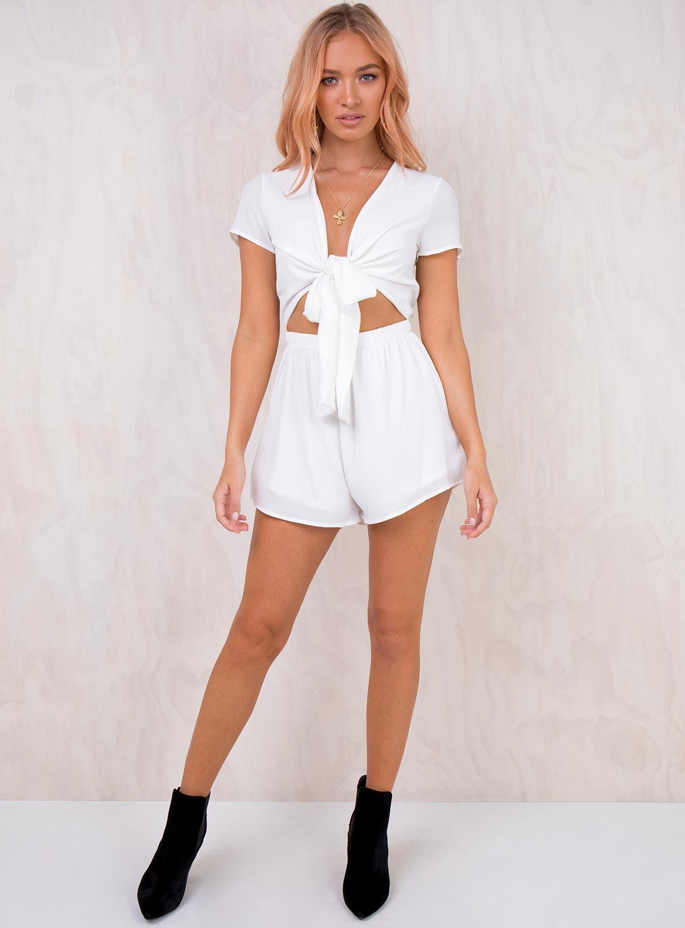 e26d2d2c5ac Sweet Sahara Tie Front Playsuit White