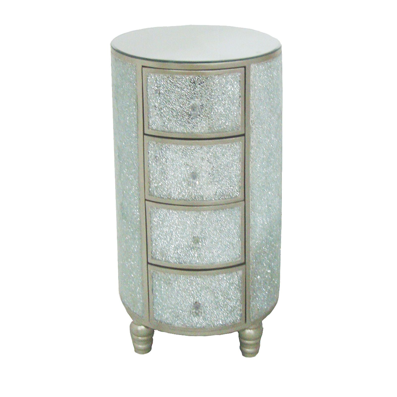 4-Drawer Round Crackled Mirror Cabinet 29-in | Beauty Tips ...
