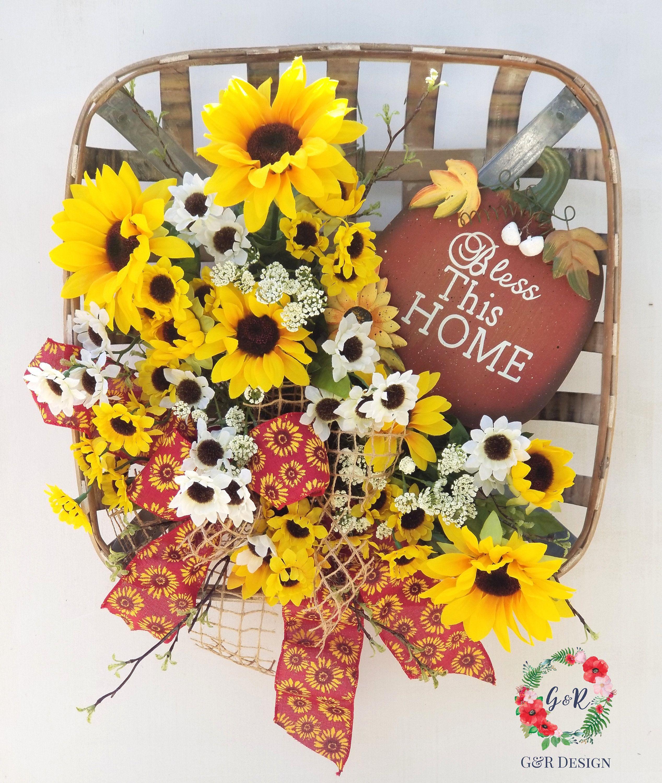 Spring Sunflower Wall Basket, Sunflower Wreath, Farmhouse