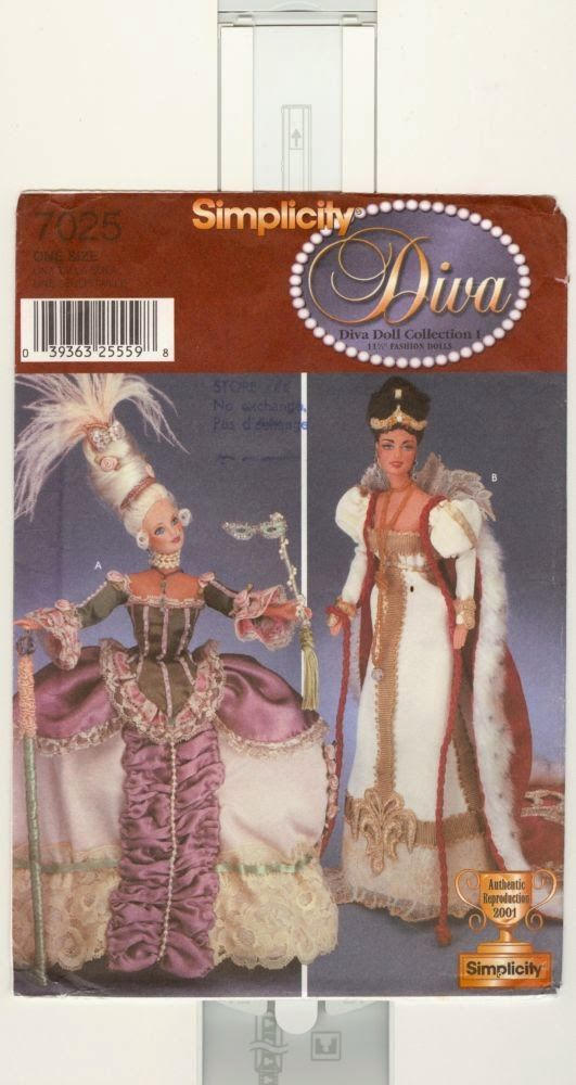 Herbie's Doll Sewing, Knitting & Crochet Pattern Collection: Simplicity Diva Doll Collection 1 Sewing Pattern number 7025 - Marie Antoinette & Empress Josephine Costumes for 11.5 inch dolls #historicaldollclothes
