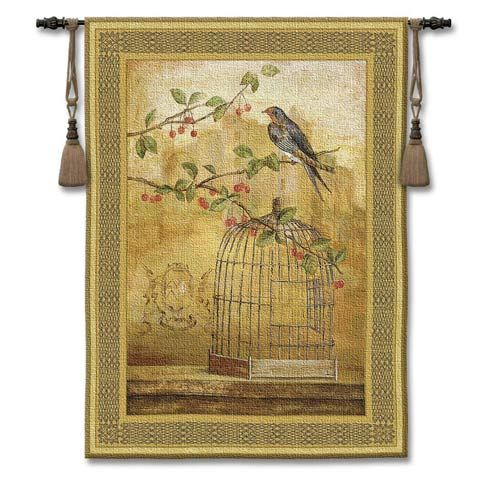 Pure Country Weavers Oiseau Cage Cerise II Woven Wall Tapestry ...