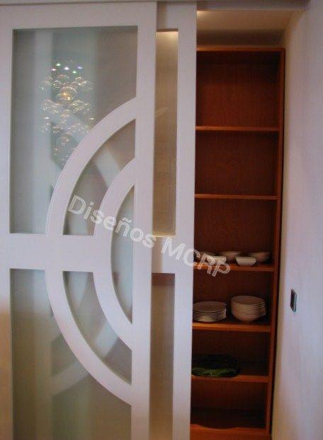 Mueble despensa para vajilla seg n dise o acabado cerezo puertas correderas en blanco y - Muebles para vajilla ...