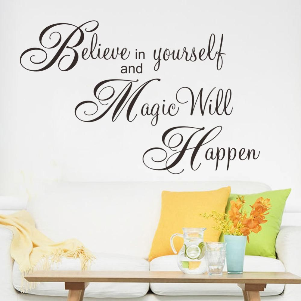 Inspirational wall decal bedroom wall decal bedroom wall vinyl - Best Quality Magic Will Happen Inspiration Quote Wall Sticker Decal Home Decor Wallpaper Wall Mural Believe