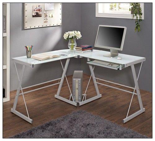 Walker Edison Modern L Shaped Tempered Glass Computer Desk White Bb51w29 Best Buy Corner Computer Desk White Corner Computer Desk White Desk Office