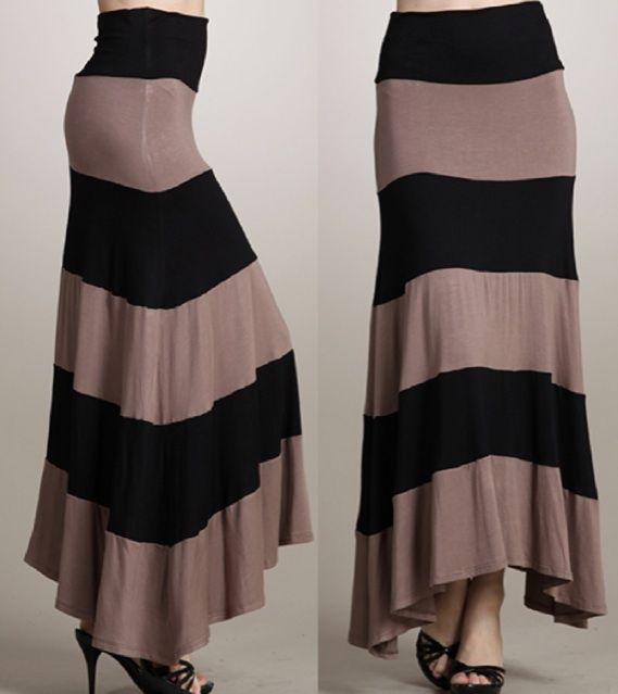 Jersey Knit fabric for maxi skirts | Black Tan Stripe Jersey Maxi Skirt Stretch Knit Dress Foldover Long ...